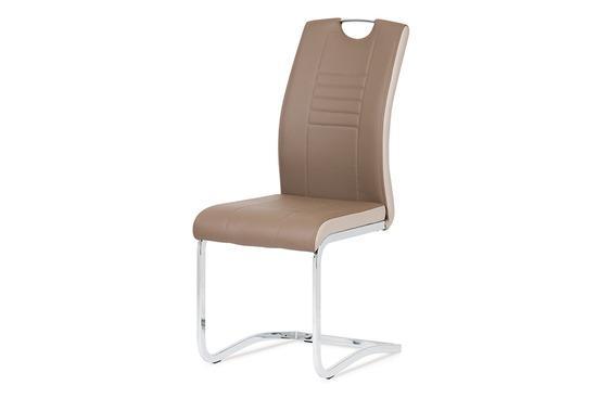 Autronic DCL-406 COF Jídelní židle chrom / koženka coffee + cappucino boky