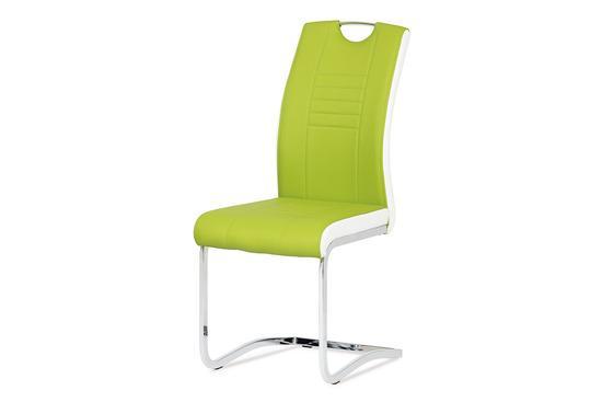 Autronic DCL-406 LIM Jídelní židle chrom / koženka limetková s bílými boky