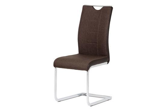 Autronic DCL-410 BR2 Jídelní židle chrom / hnědá látka + hnědá koženka