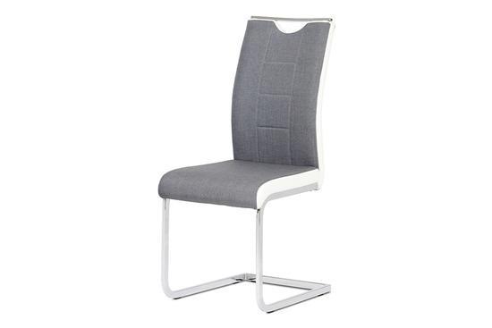 Autronic DCL-410 GREY2 Jídelní židle chrom / šedá látka + bílá koženka
