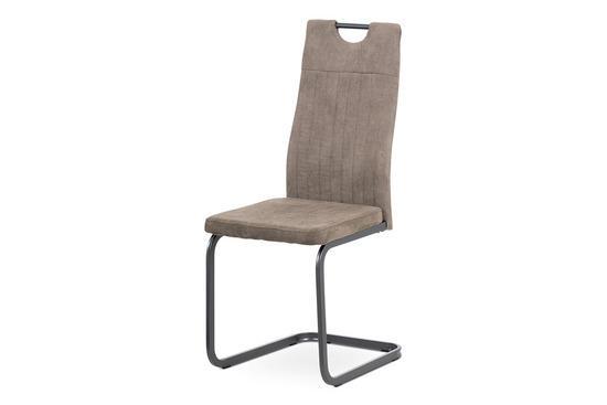 Autronic DCL-462 LAN3 Jídelní židle, lanýžová látka, šedý kov mat