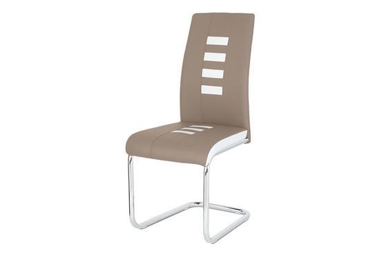 Autronic DCL-961 CAP Jídelní židle ekokůže cappucino / bílá, chrom