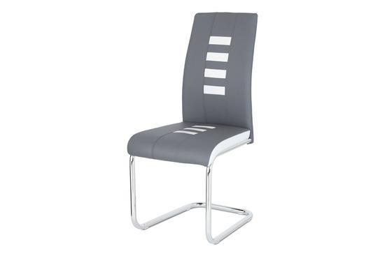 Autronic DCL-961 GREY Jídelní židle ekokůže šedá / bílá, chrom