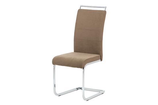 Autronic DCL-966 LAN2 Jídelní židle lanýžová látka + hnědá koženka / chrom