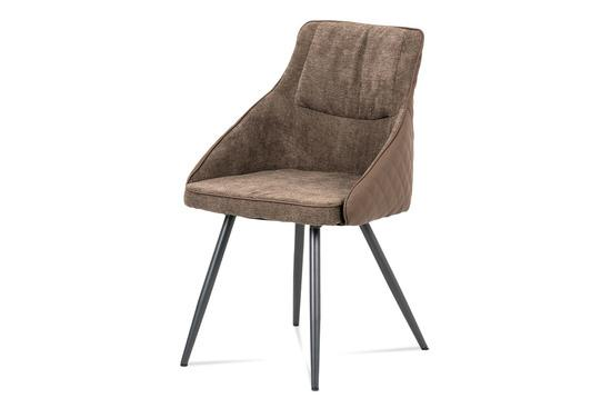 Autronic DCH-202 LAN2 Jídelní židle, lanýžová látka+ekokůže, kov šedý mat