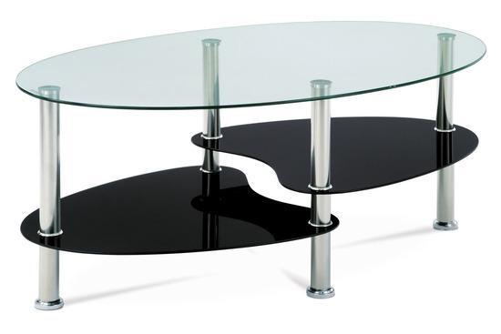 Autronic GCT-302 GBK1 Konferenční stolek, čiré sklo / černé sklo / leštěný nerez