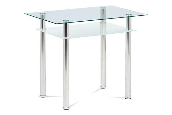 Autronic GDT-111 CLR Jídelní stůl 90x60 cm, číré/mléčné sklo temperované + chrom