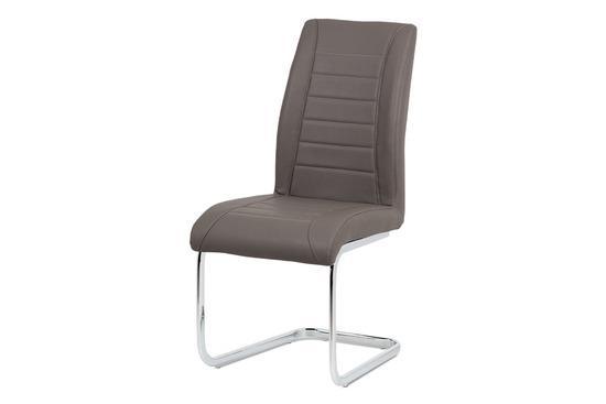 Autronic HC-375 CAP Jídelní židle - cappuccino ekokůže, kovová chromovaná podnož