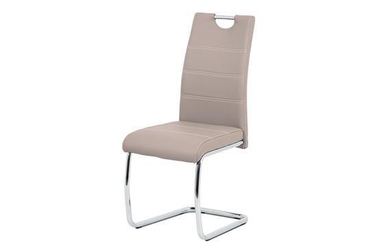 Autronic HC-481 LAN Jídelní židle, béžová ekokůže, bílé prošití, kov chrom