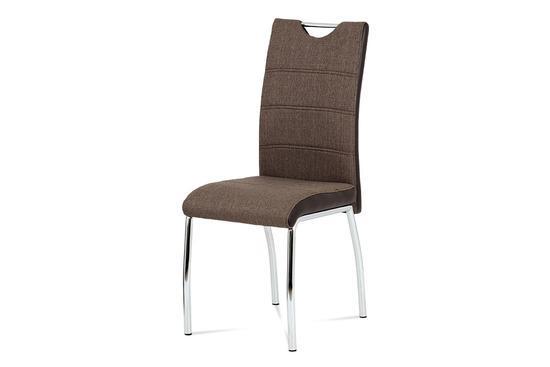 Autronic HC-586 COF2 Jídelní židle coffee látka + hnědá koženka / chrom