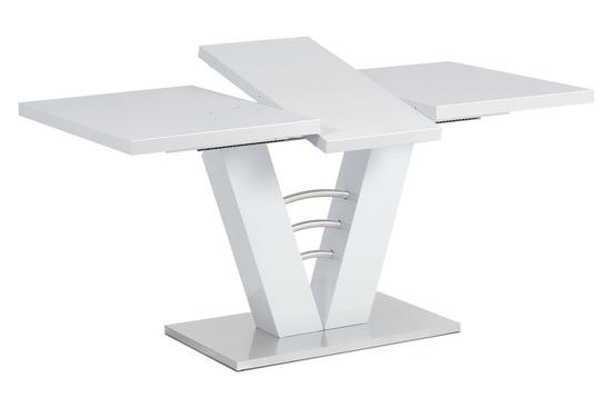 Autronic HT-510 WT Rozkládací jídelní stůl 120+40x80 cm, bílý lesk / broušený nerez