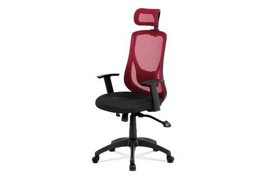 Autronic KA-A186 RED Kancelářská židle, synchronní mech., černá + červená MESH, plast. kříž