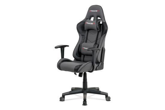 Autronic KA-V608 GREY Kancelářská židle, šedá látka + černá ekokůže, houpací mech., plastový kříž