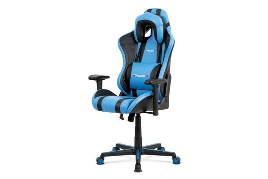 Autronic KA-V609 BLUE Kancelářská židle, modrá+černá ekokůže, houpací mech., plastový kříž
