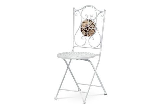Zahradní židle, keramická mozaika, kov, bílý lak (designově ke stolu US1000)