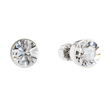 Stříbrné náušnice pecka s krystaly Swarovski bílé kulaté 31113.1, crystal, bílá