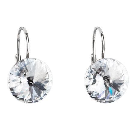 Stříbrné náušnice visací s krystaly Swarovski bílé kulaté 31106.1, bílá