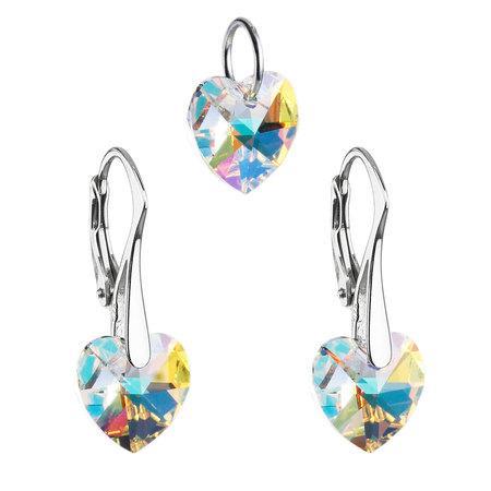 Sada šperků s krystaly Swarovski náušnice a přívěsek AB efekt srdce 39003.2, crystal, aurore, boreale