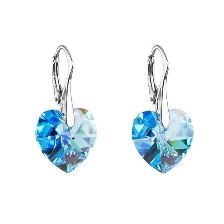 Stříbrné náušnice visací s krystaly Swarovski modré srdce 31012.4, aquamarine, AB, 37, modrá, 1,5