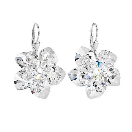 Stříbrné náušnice visací s krystaly Swarovski bílá kytička 31130.1, crystal