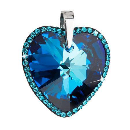 Stříbrný přívěsek s krystaly Swarovski modré srdce 34138.5, modrá