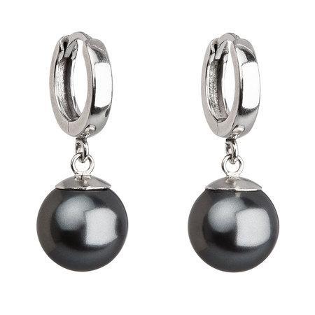 Stříbrné náušnice visací s perlou Swarovski šedé kulaté 31151.3, šedá