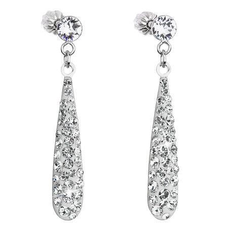 Stříbrné náušnice visací s krystaly Swarovski bílá slza 31163.1, crystal