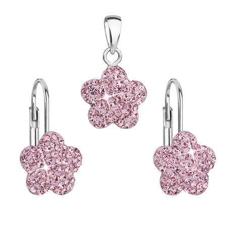 Sada šperků s krystaly Swarovski náušnice a přívěsek růžová kytička 39145.3, rose