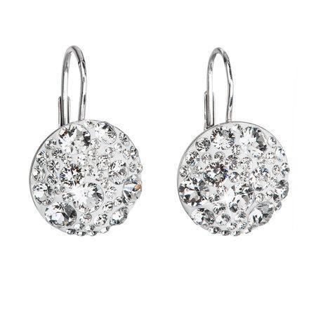 Stříbrné náušnice visací s krystaly Swarovski bílé kulaté 31176.1, bílá, crystal