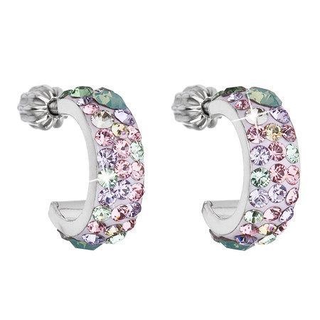 Stříbrné náušnice kruhy s krystaly Swarovski mix barev půlkruh 31118.3 Sakura, barev,růžová,zelená,fialová, silver,pacific, opal,,shade,luminous, green,, erinite,chrysolite,li