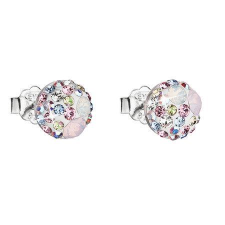 Stříbrné náušnice pecka s krystaly Swarovski růžové kulaté 31136.3, vintage, rose,, crystal, AB,, rose, water, opal,crystal,, luminous, gree, růžová