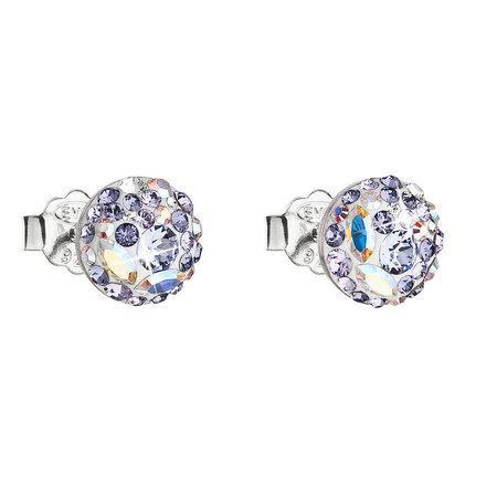 Stříbrné náušnice pecka s krystaly Swarovski fialové kulaté 31136.3, tanzanite,crystal, AB,, crystal,, violet,, provence, lavender, fialová