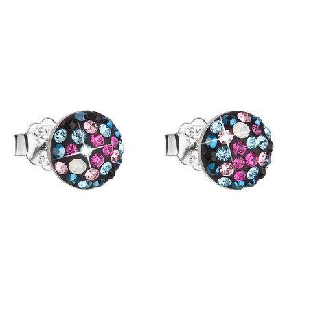 Stříbrné náušnice pecka s krystaly Swarovski mix barev kulaté 31136.4 galaxy, fuchsia,,, metalic, blue,light, rose,, light, rose,, jet,, white, opal,, , modrá,mix, barev,růžová