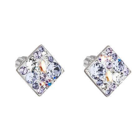 Stříbrné náušnice pecka s krystaly Swarovski fialový kosočtverec 31169.3, tanzanite,,crystal, AB,, violet,, crystal,, provence, lavender, fialová