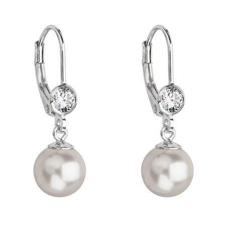 Levně Stříbrné náušnice visací s perlou Swarovski bílé kulaté 31196.1, bílá