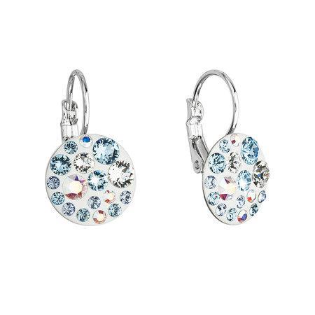 Náušnice bižuterie se Swarovski krystaly modré kulaté 51035.3, crystal, AB,light, sapphire,aqua, modrá