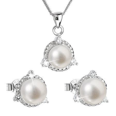 Evolution Group Luxusní stříbrná souprava s pravými perlami Pavona 29033.1 (náušnice, řetízek, přívěsek)