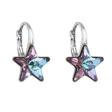 Stříbrné náušnice visací s krystaly Swarovski fialová hvězdička 31227.5