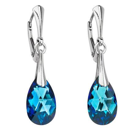 Stříbrné náušnice visací s krystaly Swarovski modrá slza 31215.5