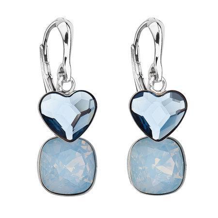 Stříbrné náušnice visací s krystaly Swarovski modré srdce 31234.3