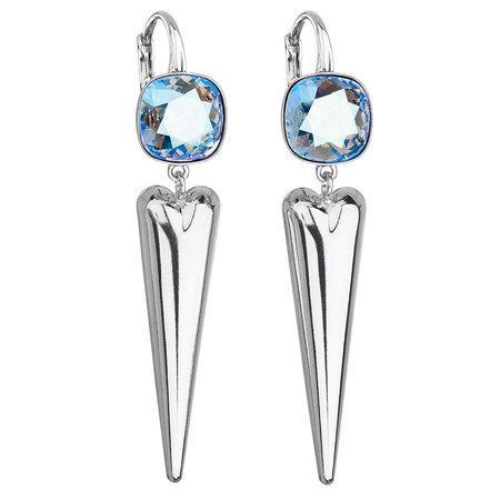 Stříbrné náušnice visací s krystaly Swarovski modré 31243.3