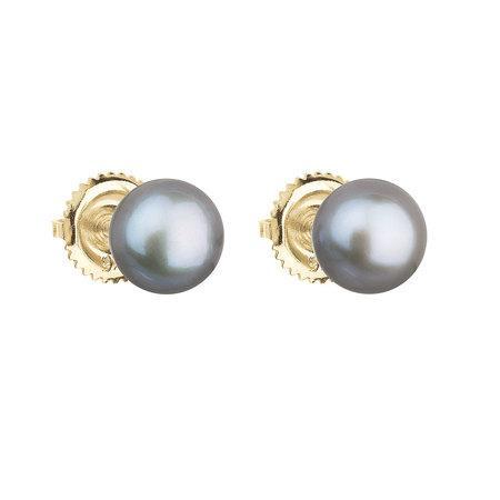 Evolution Group Zlaté náušnice pecky s pravými perlami Pavona 921004.3 - GREY