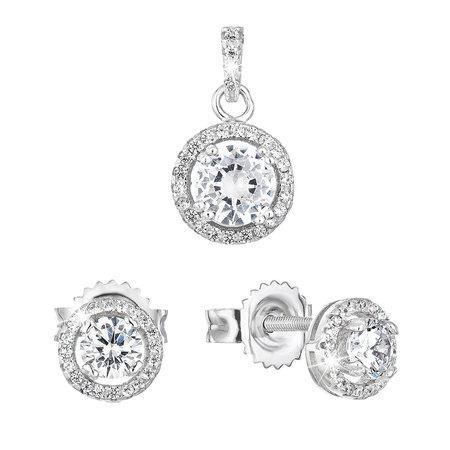 Evolution Group sada šperků se zirkonem náušnice a přívěsek bílé kulaté 19026.1