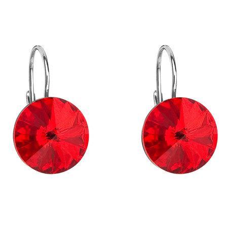 Stříbrné náušnice visací s krystaly Swarovski červené kulaté 31106.3