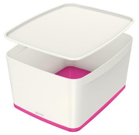 Úložný box s víkem Leitz MyBox, velikost L, bílá/růžová, 52161023