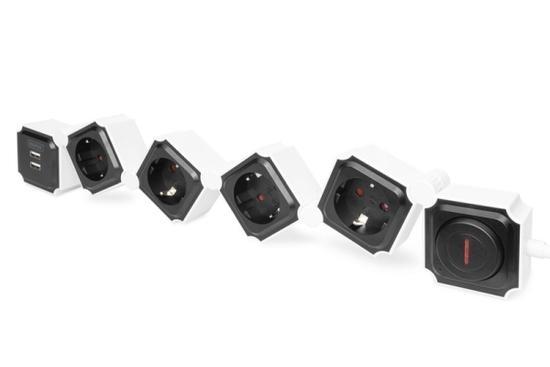 Digitus Flexibilní rozvodka, 3680 W 250VAC 50 Hz 4x bezpečnostní zásuvka, 16 A, 2x připojení USB A, 2,4 A