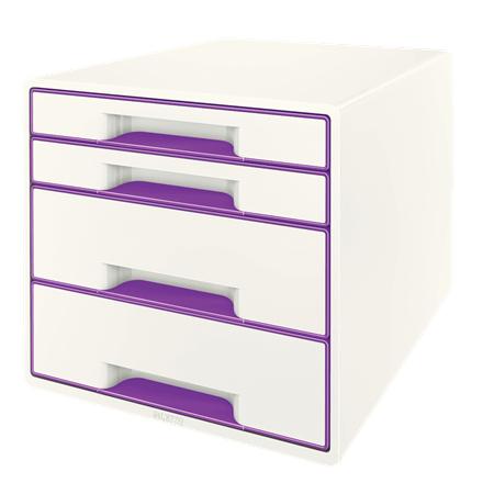 Zásuvkový box Leitz WOW CUBE, 4 zásuvky, purpurová, 52132062