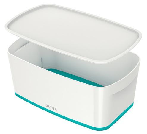 Úložný box s víkem Leitz MyBox, velikost S, bílá/ledově modrá, 52291051