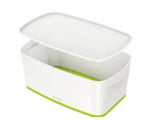 Úložný box s víkem Leitz MyBox, velikost S, bílá/zelená, 52291054