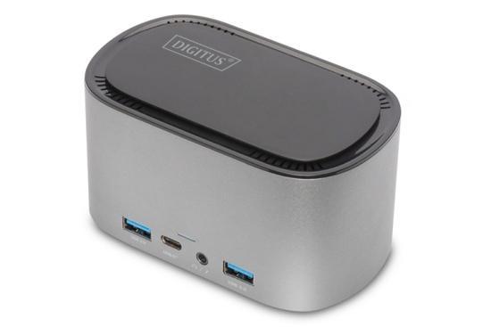 Digitus 11 portová dokovací stanice USB-C s krytem SSD 2x HDMI, DP, 4x USB-A, 2x USB-C, RJ45, AC, M.2 SSD, DA-70889